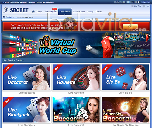 Screenshot sbobet casino 338a panel